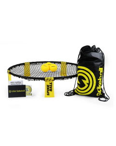 Kit Spikeball con 3 esferas, tula deportiva, stickers y su aro y malla en color negro.