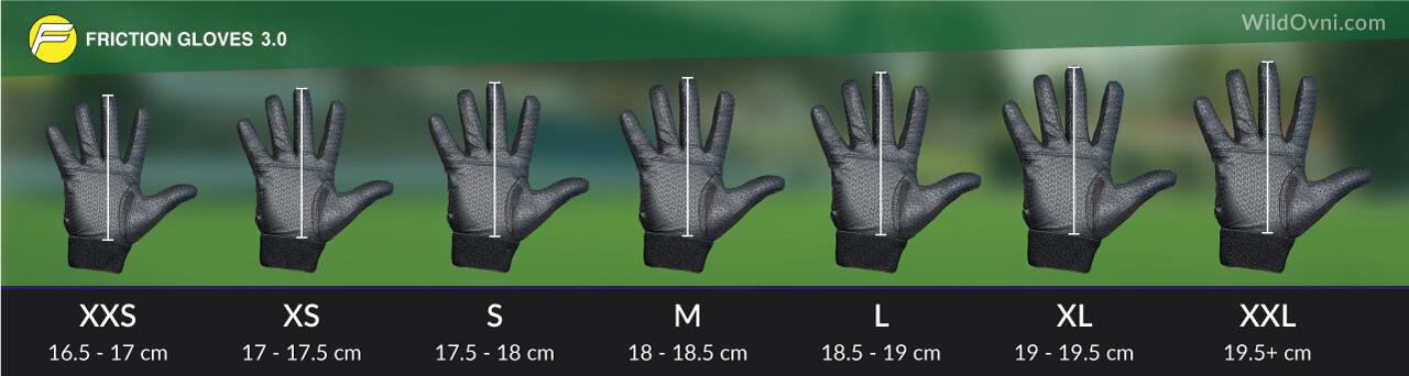 Esquema de tallas para los guantes Friction Gloves 3.0, para práctica de Ultimate Frisbee